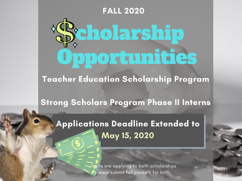 $cholarships now open! Due May 15, 2020